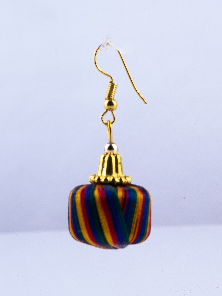 Multi Colored Thread Earrings