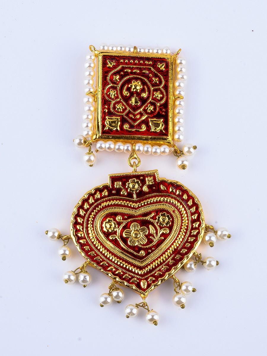 Red Kundan Meenakari Earrings