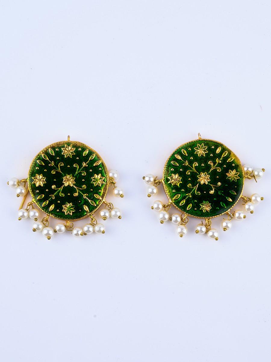 Green Meenakari Pearl Tops