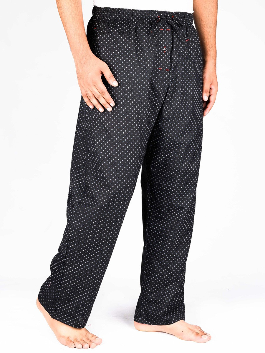 Black Printed Cotton Blend Relaxed Pajamas
