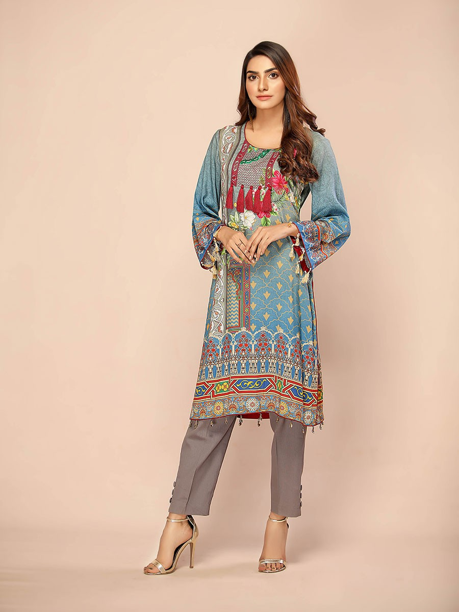 Light Blue Digital Printed & Embroidered Linen Shirt