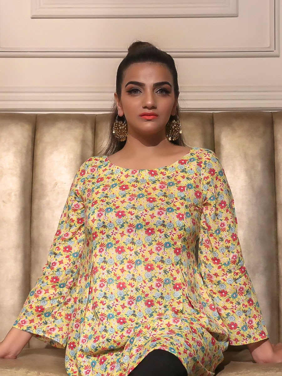 Yellow Floral Printed Cotton Kurta