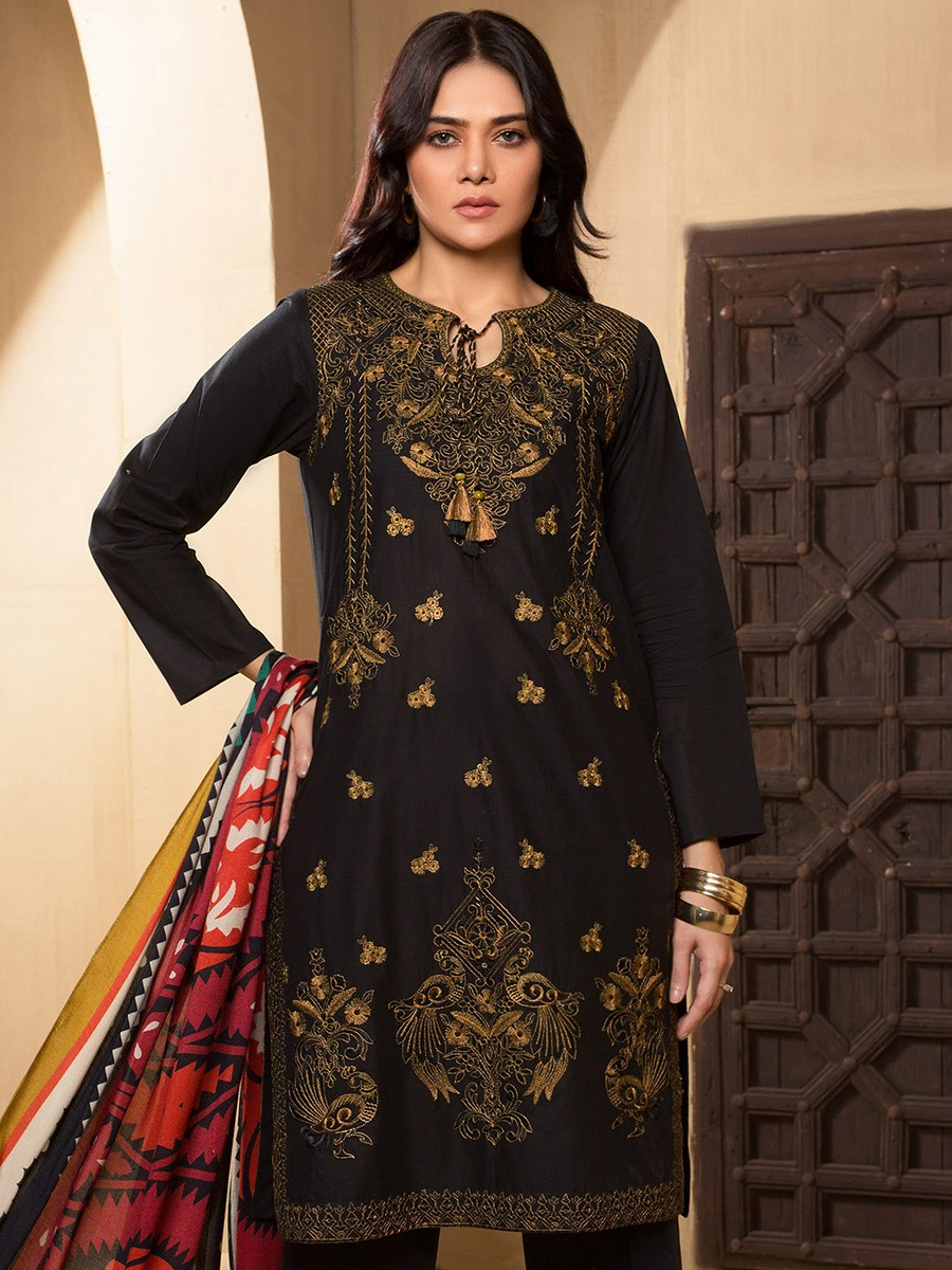 Black Embroidered Winter Cotton 2 Piece Suit