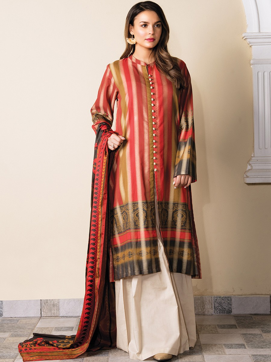 Multi Colored Striped Jacquard 2 Piece Suit
