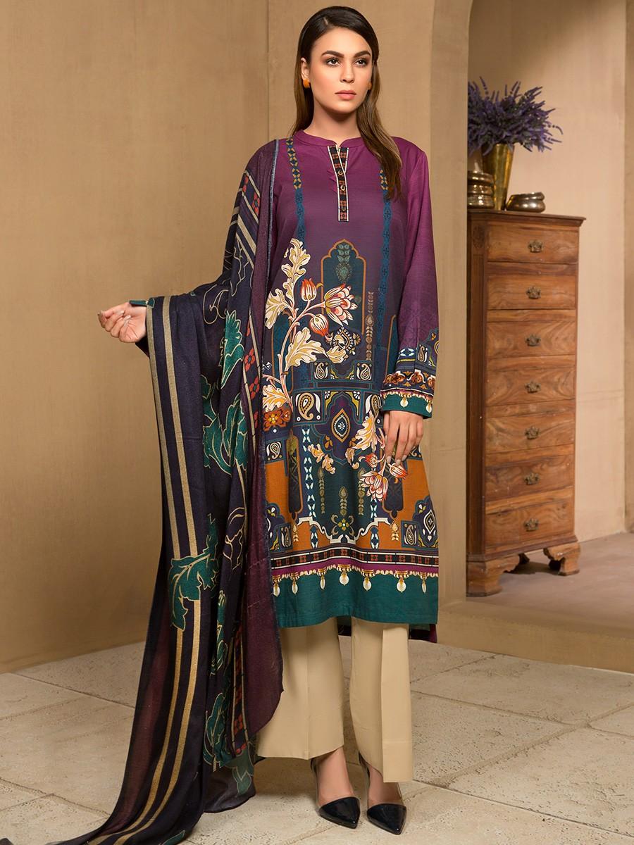Multi Colored Khaddar 2 Piece Suit