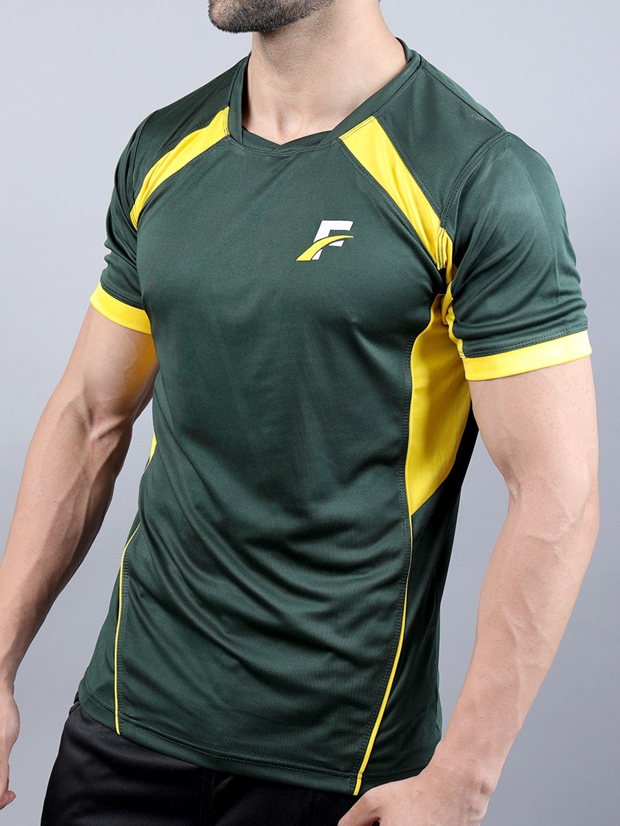 FIREOX  Green & Yellow Polyester Active Fit T-Shirt for Men