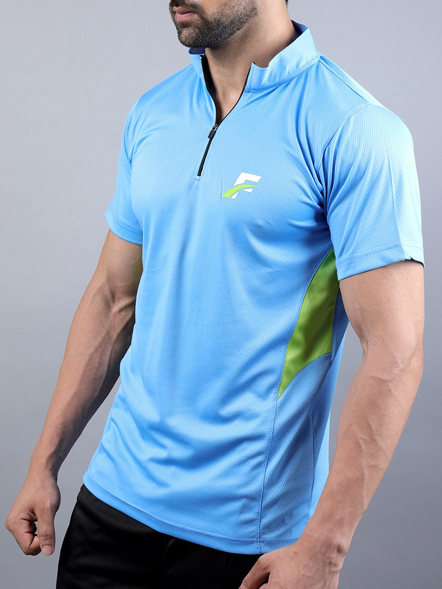 Sky Blue/Green Athletic Fit Men's T-Shirt
