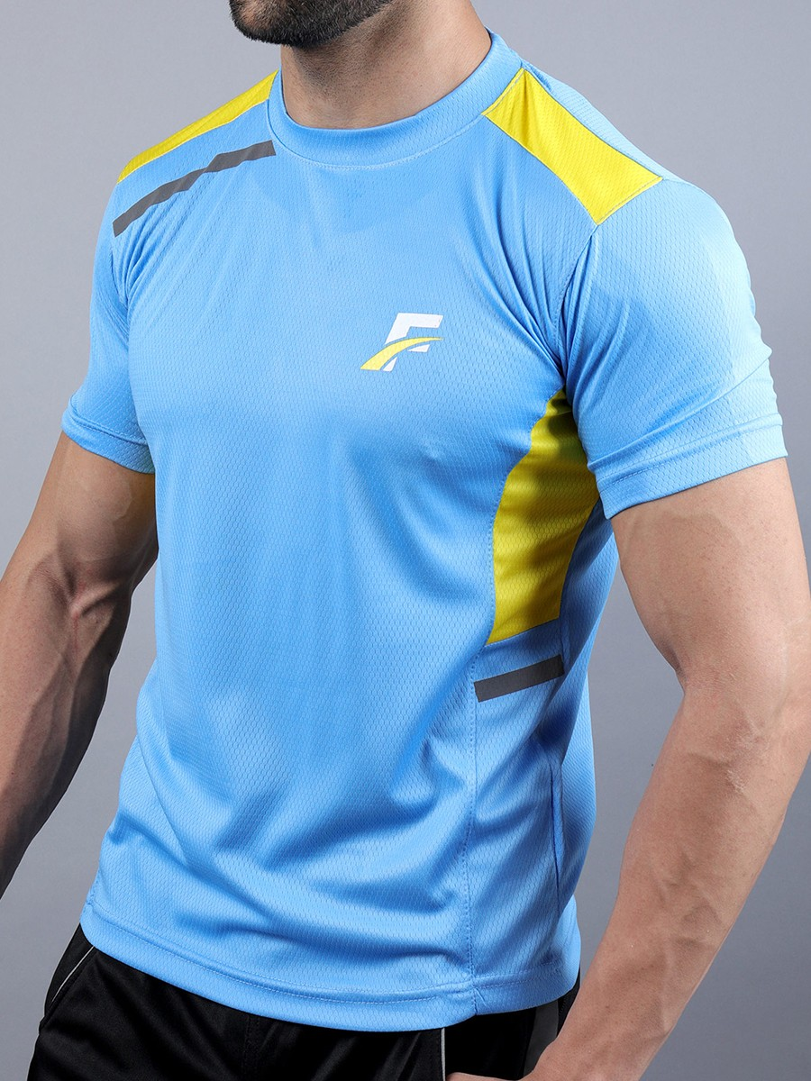 FIREOX  Sky Blue & Yellow Polyester Active Fit T-Shirt for Men