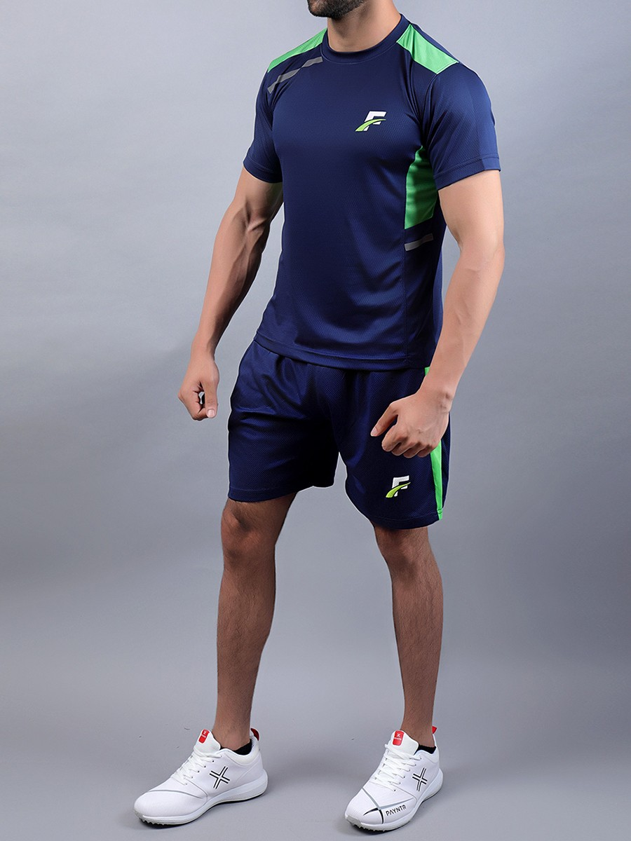 FIREOX  Blue & Parrot Green Polyester T-Shirt & Shorts for Men