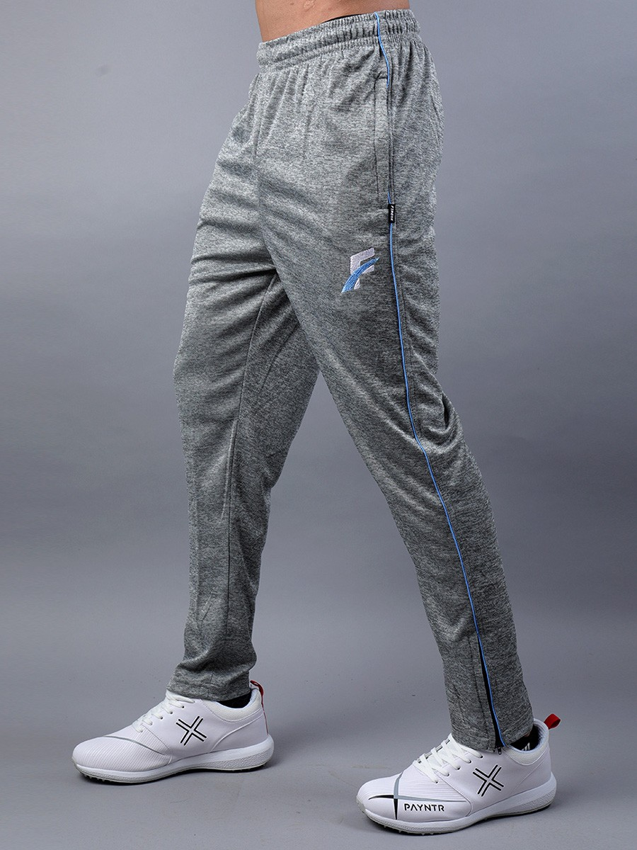 FIREOX Grey & Sky Blue Polyester Active-wear Trouser for Men