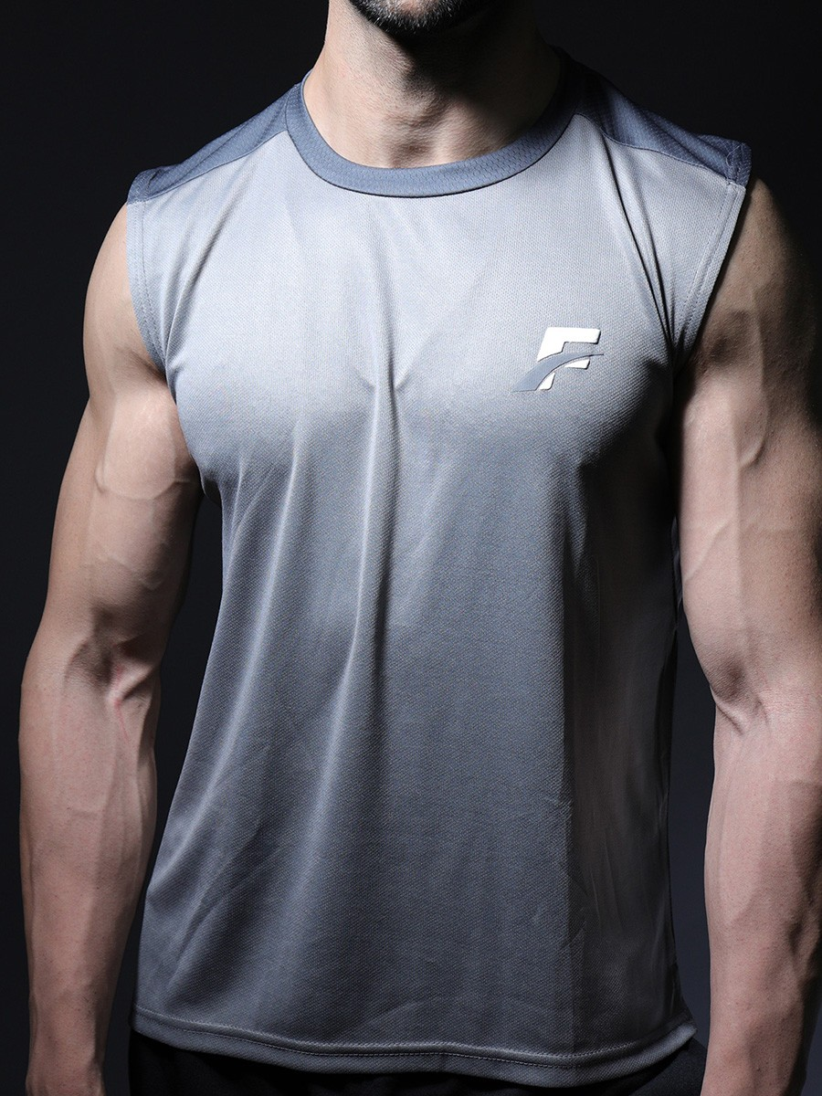 Sky Grey Men's Gym Tank Tops