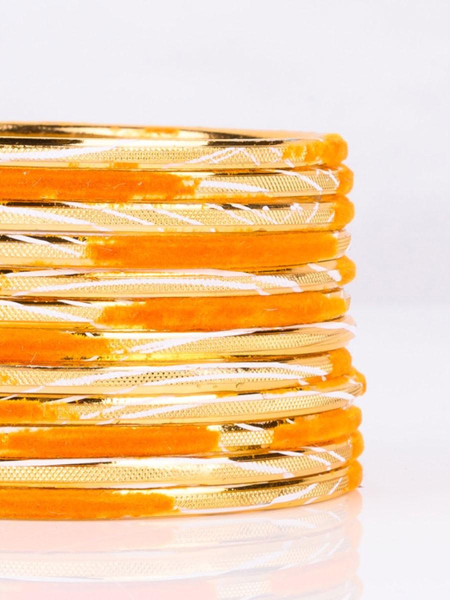 Aluminium Embossed Velvet Bangles