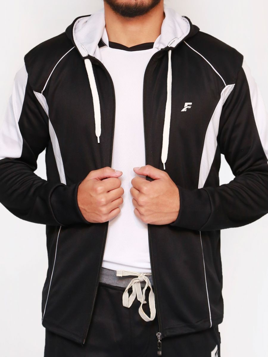 FIREOX  Black & White Polyester Active-wear Hoodie for Men