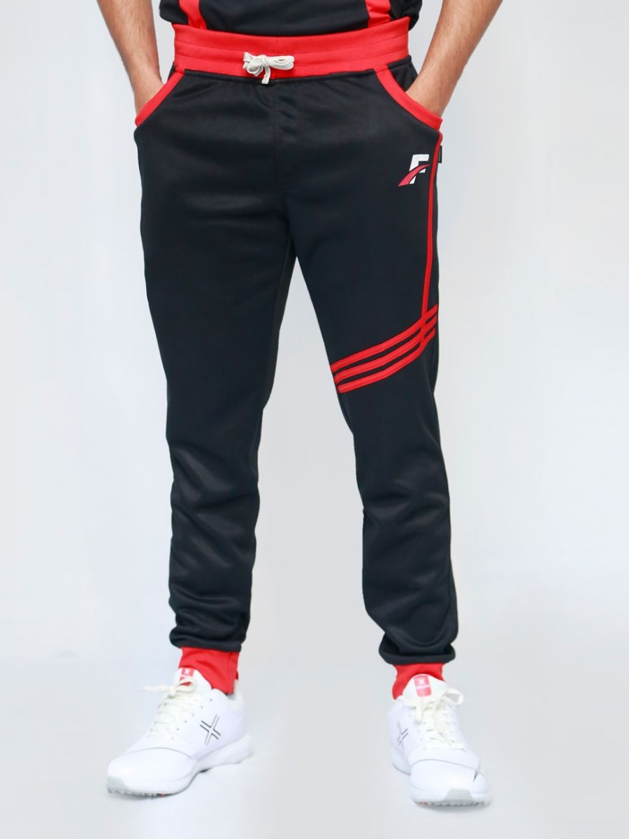 FIREOX  Black & Red Polyester Active-wear Trouser for Men