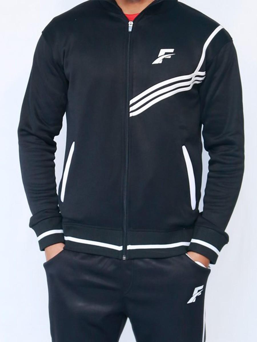 FIREOX Black & White Polyester Jacket for Men