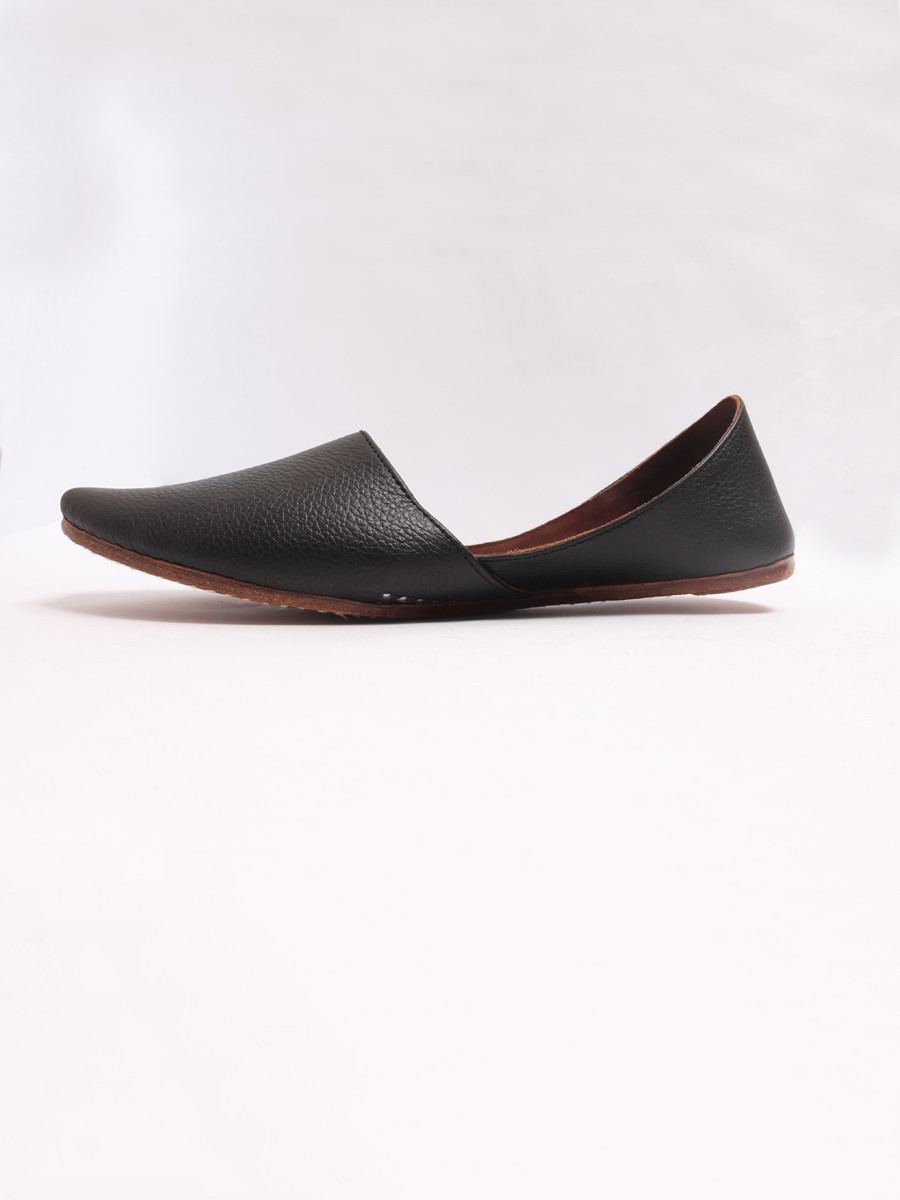 Black Pure Leather Khussa
