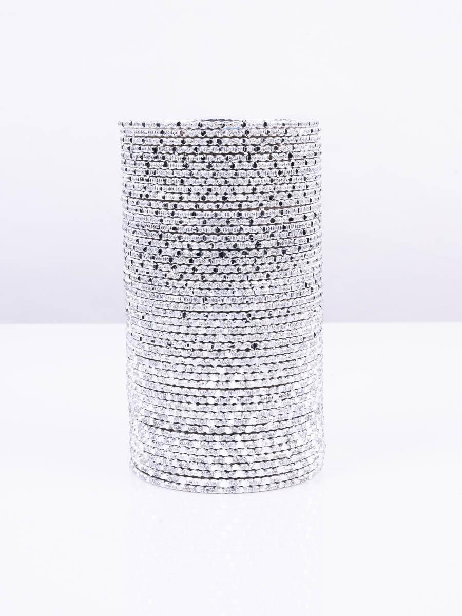 Silver Grey Foxtrot Aluminium Bangles (12 Pieces Set)