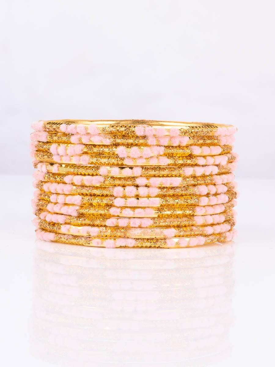 Pink Embedded Velvet Aluminium Bangles (12 Pieces Set )
