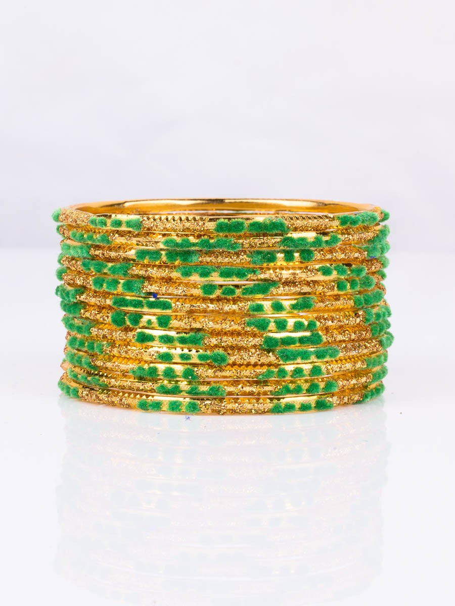 Green Embedded Velvet Aluminium Bangles (12 Pieces Set )