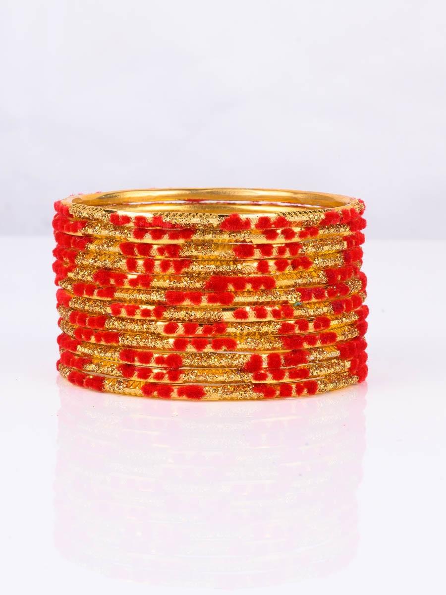 Red Embedded Velvet Aluminium Bangles (12 Pieces Set )