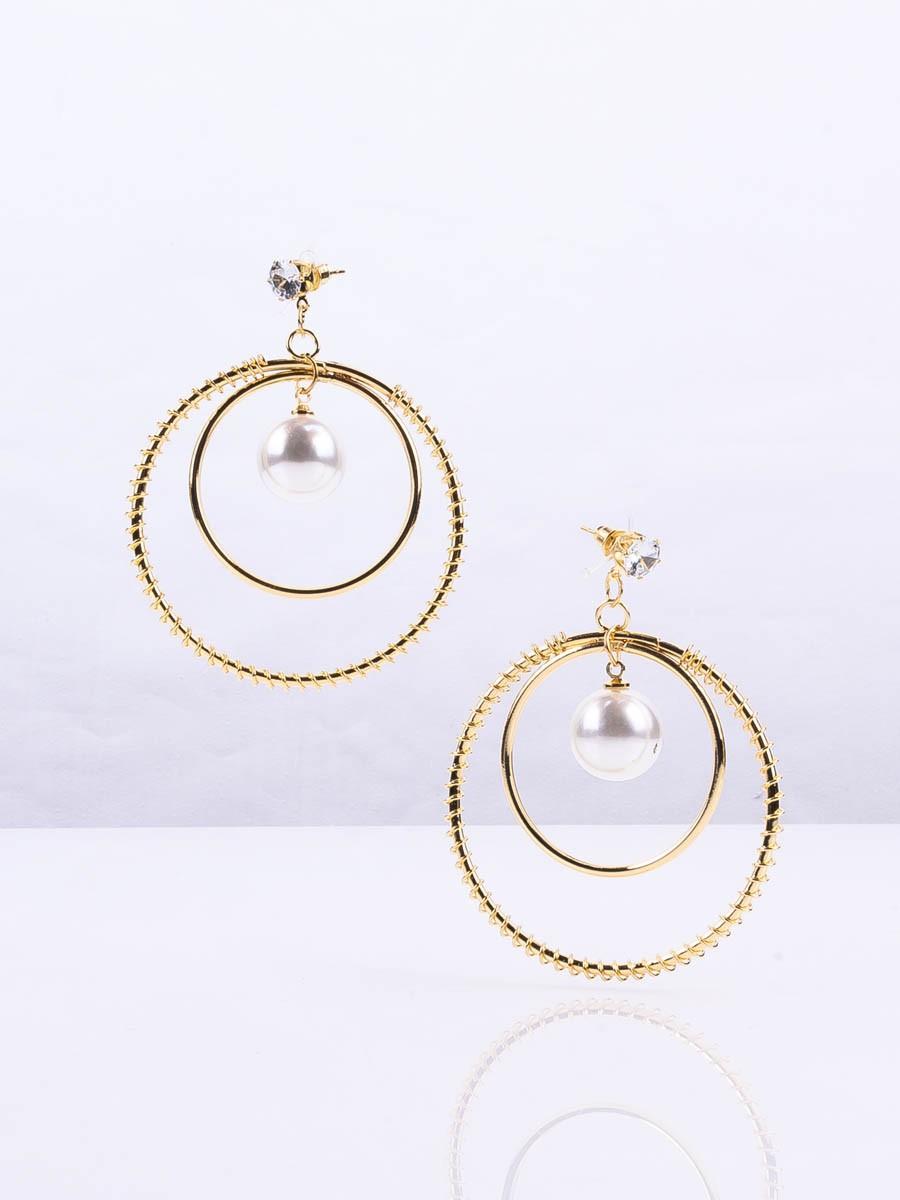 Forever New Circular Drop Pearl Earrings