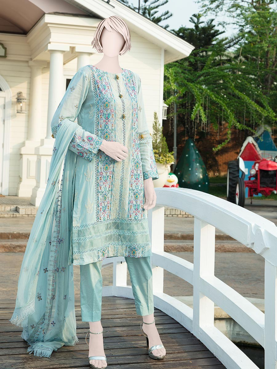 Light Blue Embroidered Lawn 3 Piece Suit For Women