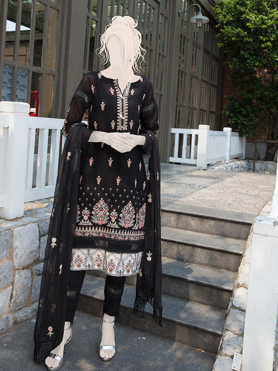 Black Embroidered Lawn 3 Piece Suit For Women