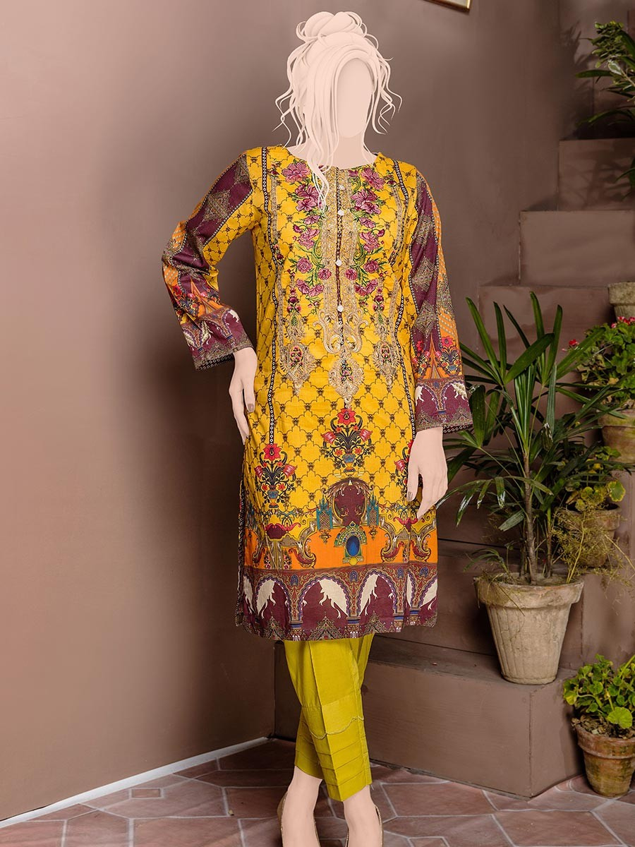 Yellow Embroidered & Digital Print Unstitched Cotton Shirt