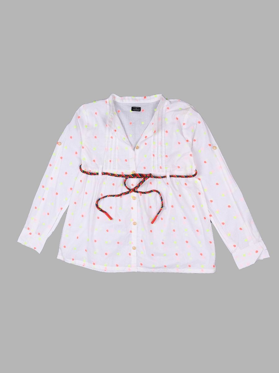 White Dotted Top For Girls