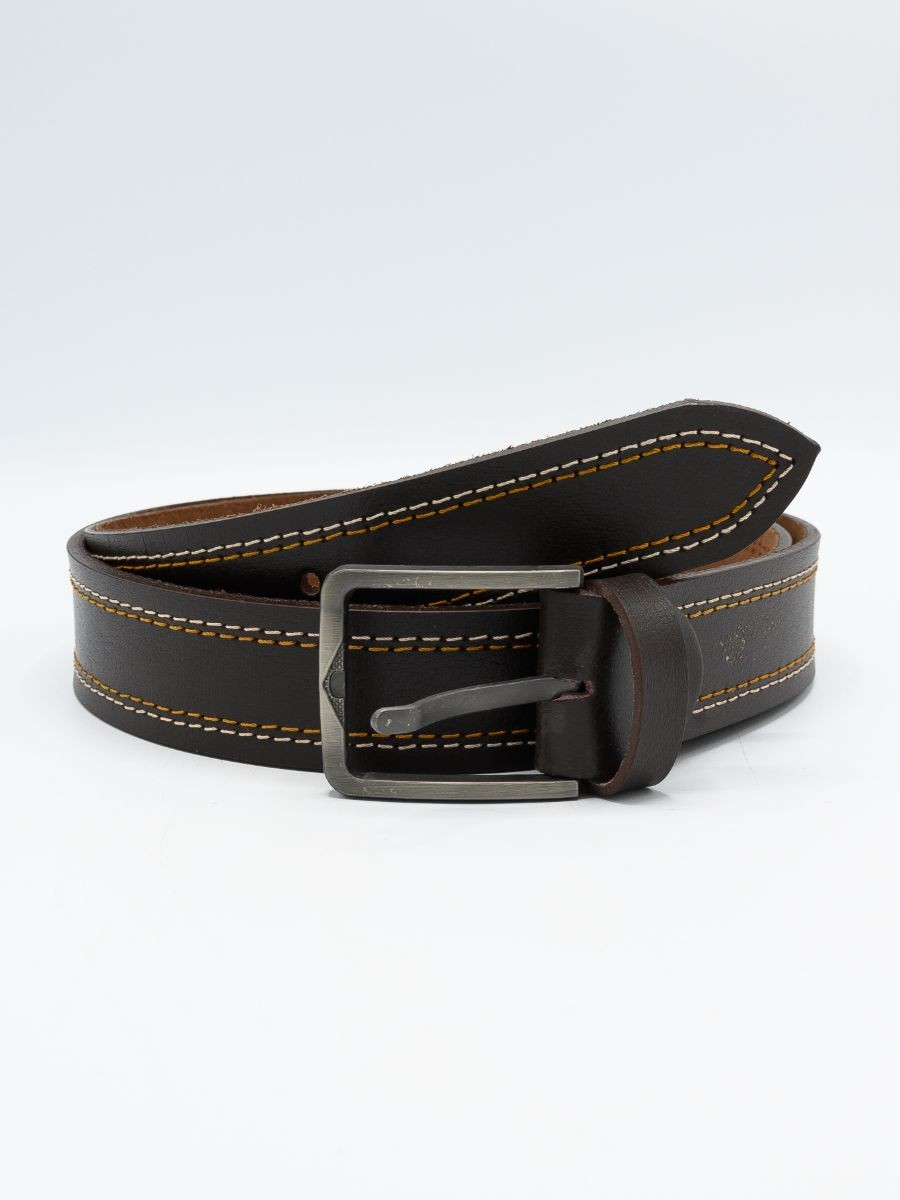 Men Cow Leather Double Stitched Belt