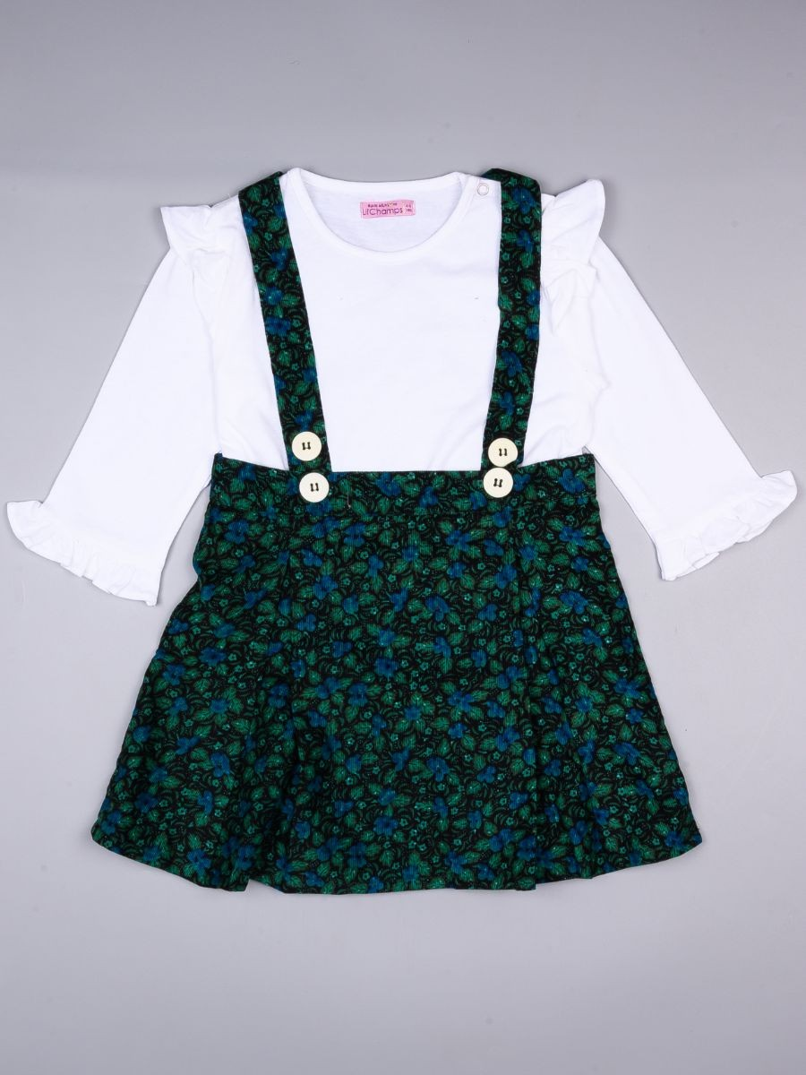 FLORAL PRINTED SKIRT AND SHIRT SET FOR GIRLS