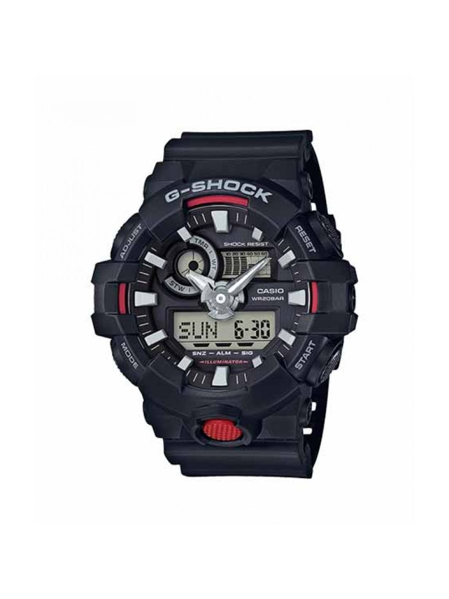 Casio G-Shock Men's Round Black Analog-Digital Black Resin Band Watch