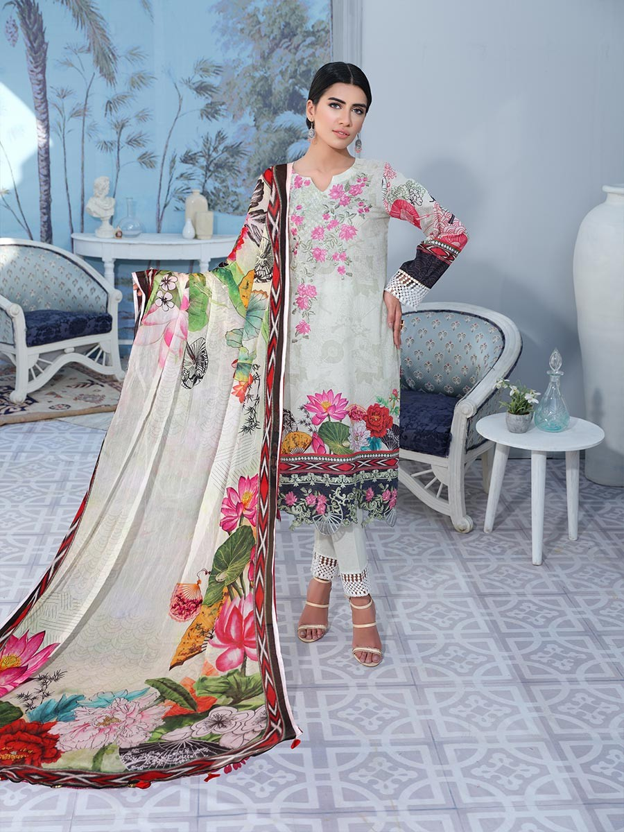 Multicolored Embroidered & Digital Print Unstitched 3 Piece Suit for Women