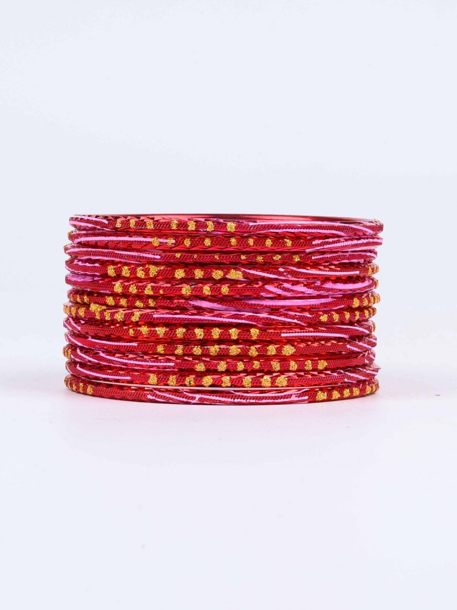 Red Diaphanous Aluminium Bangles for Women