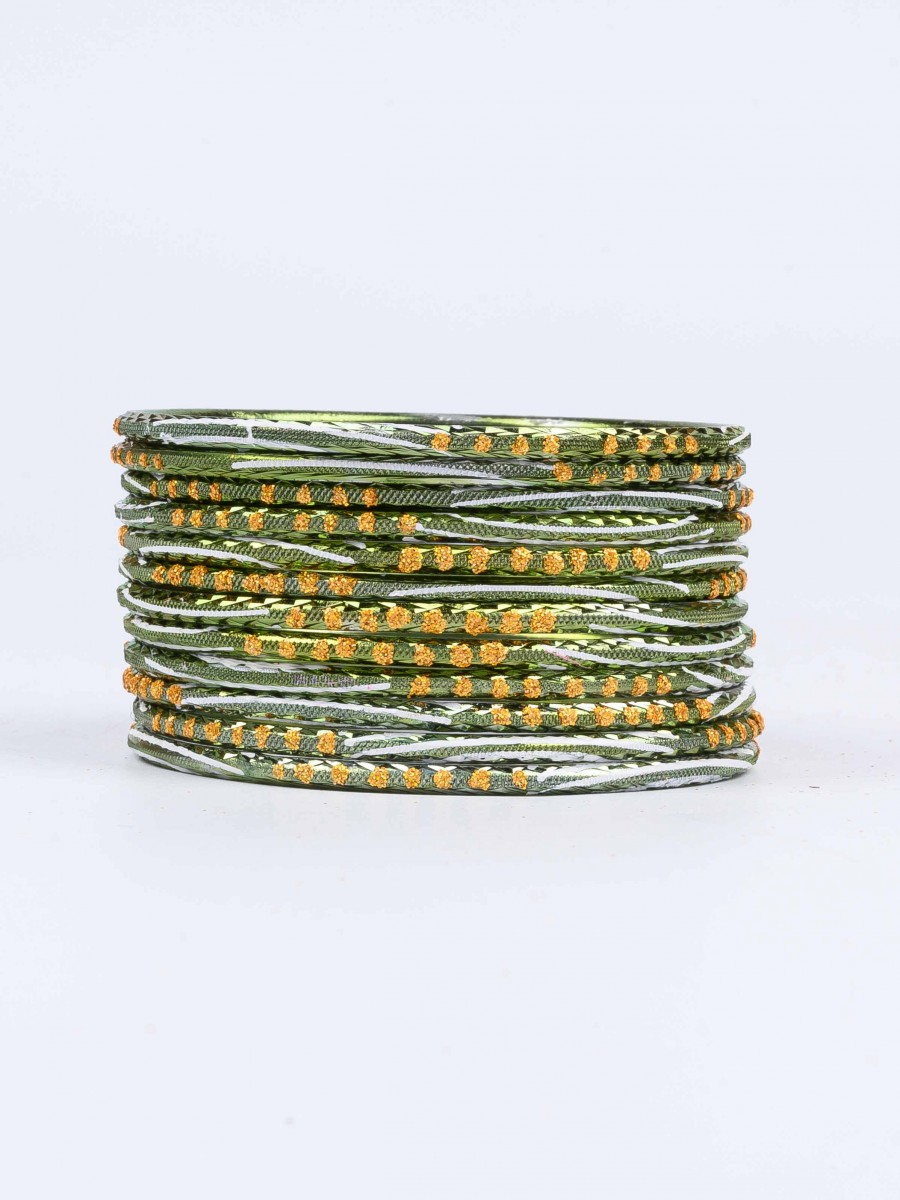 Green Diaphanous Aluminium Bangles for Women