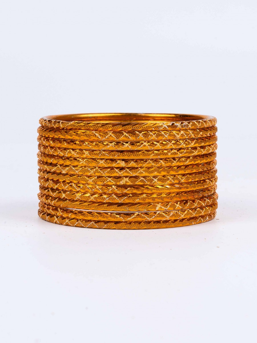 Brown Ornate Aluminium Bangles for Women