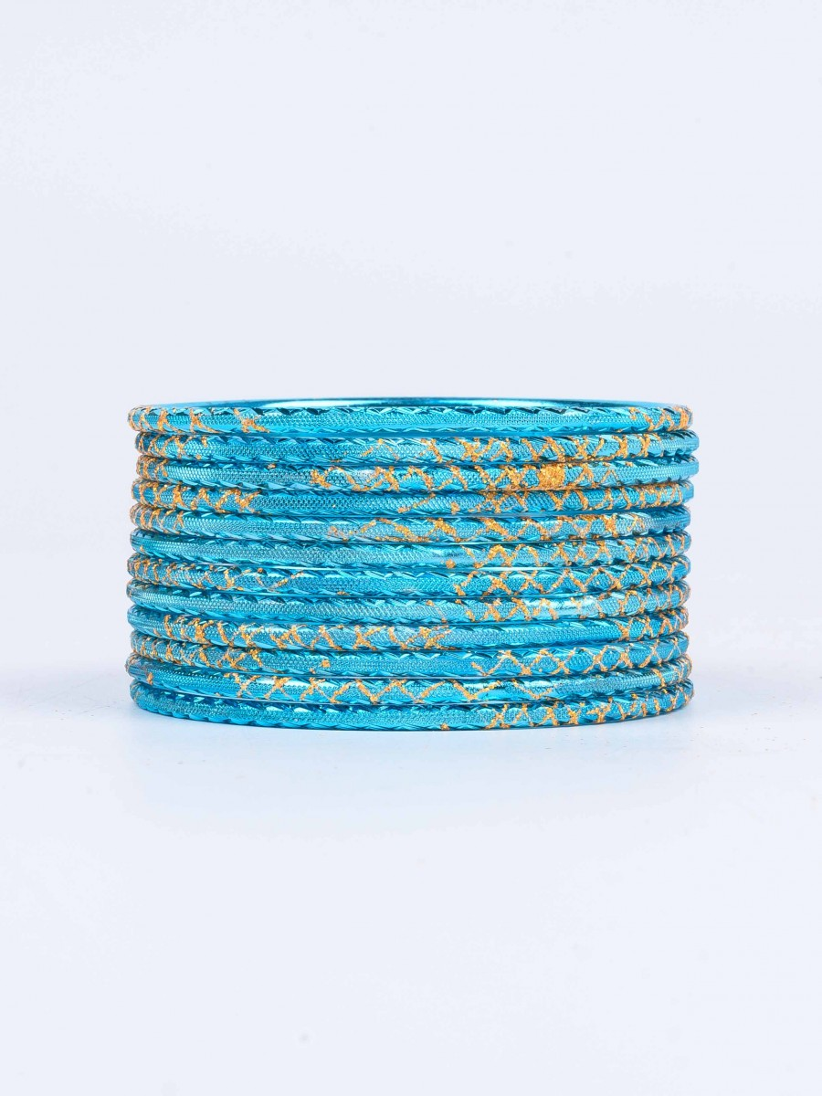 Blue Ornate Aluminium Bangles for Women