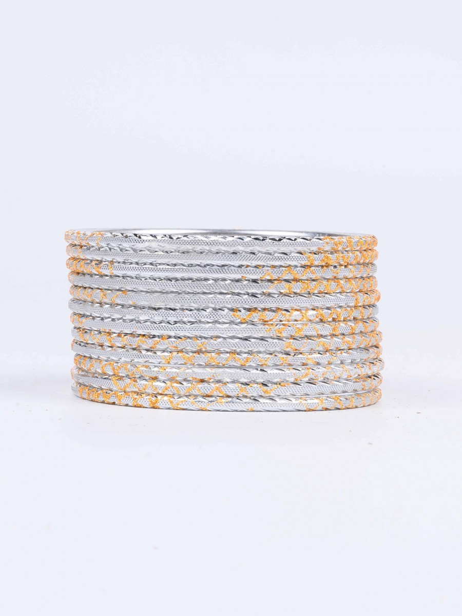 Off White Ornate Aluminium Bangles for Women