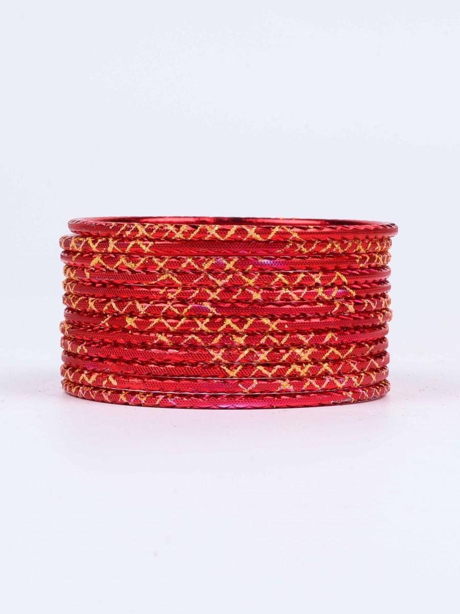 Red Ornate Aluminium Bangles for Women