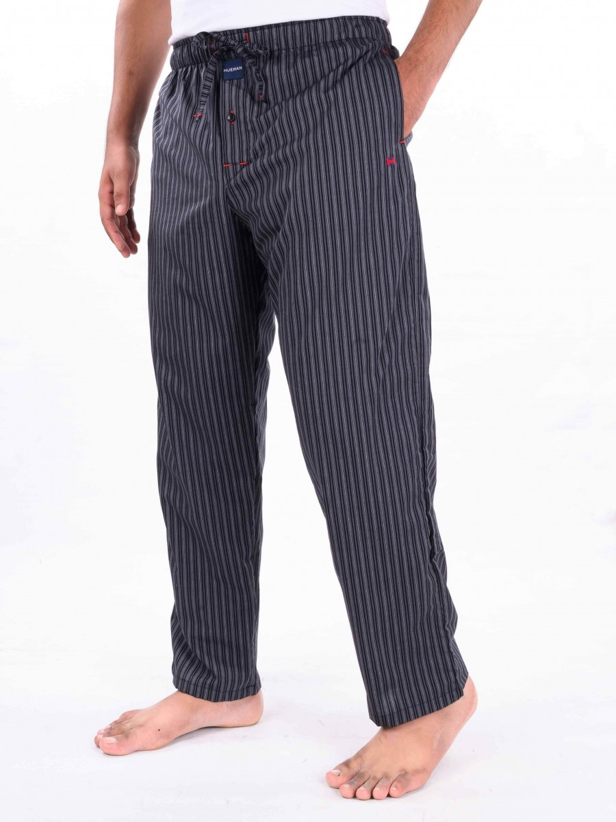 Black & Grey Striped Lightweight  Cotton Blend Relaxed Pajamas