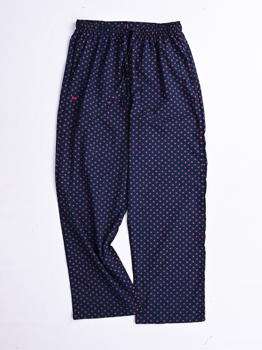 Navy & Pink Printed Cotton Blend Relaxed Women Pajama