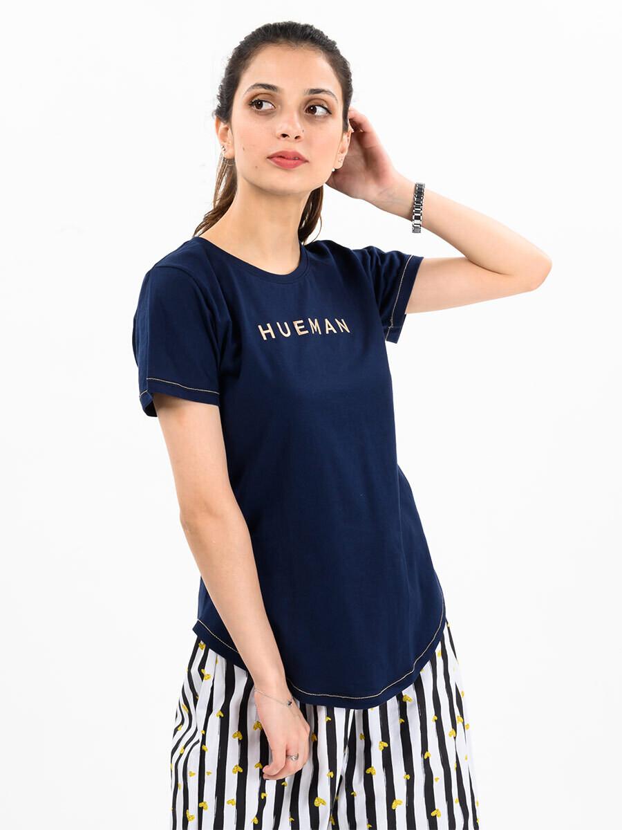 Women Navy Blue Round Bottom T-shirt
