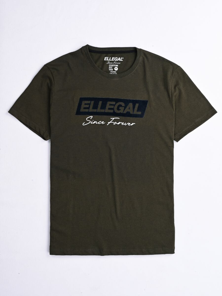 SF Flock Olive Green Cotton Tee Shirt
