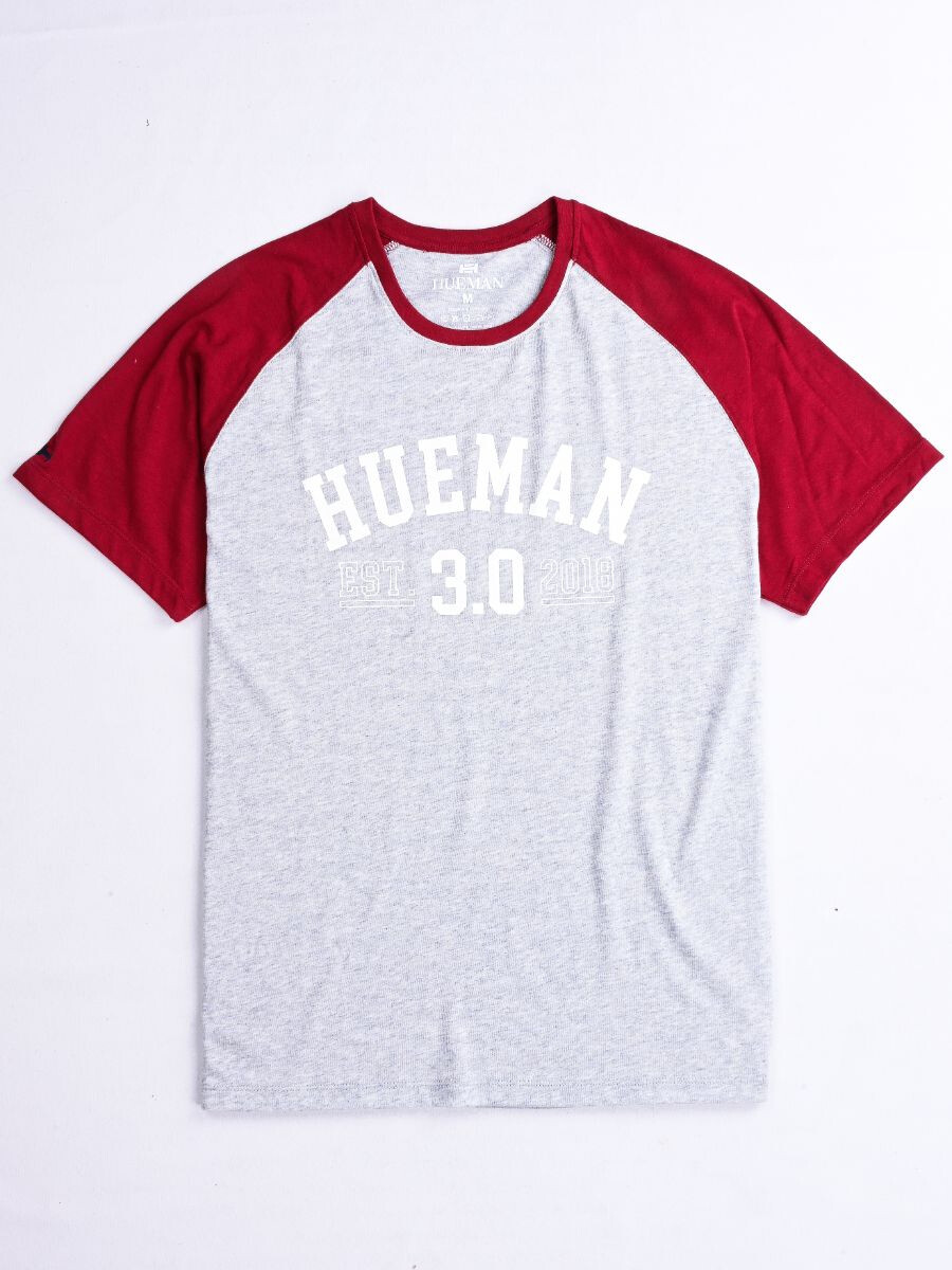 3.0 Grey & Maroon Custom Fit Contrast Tee