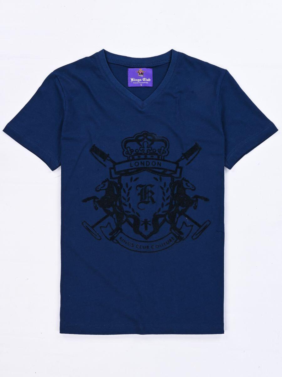 KINGS CLUB COUTURE LONDON ROYAL BLUE V NECK T SHIRT