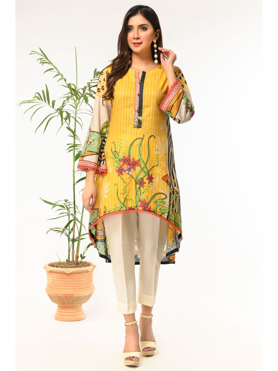 Yellow Printed Stitched Lawn Shirt for Women