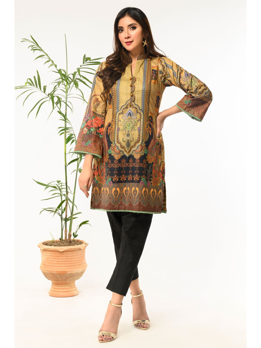 Coffee Brown Printed Stitched Lawn Shirt for Women
