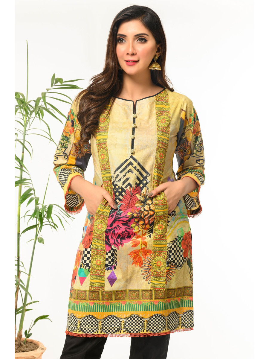 Mustard Printed Stitched Lawn Shirt for Women