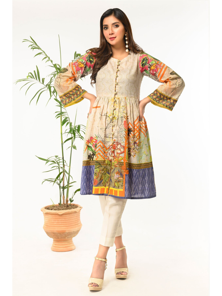 Cream Printed Stitched Lawn Shirt for Women