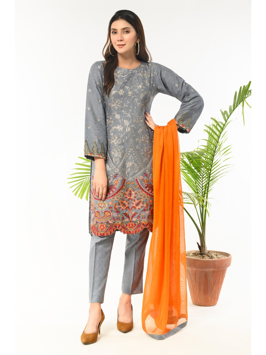 Grey  Embroidered Stitched 3 Piece Jacquard Suit for Women